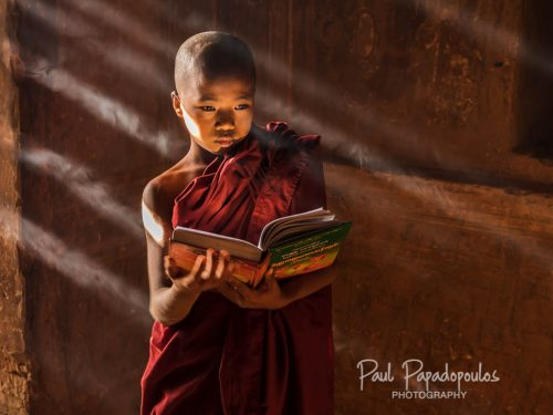 Novices, Candles and Sunrays -  Bagan, Myanmar